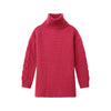 Cable Knit Sleeve Turtleneck Raspberry Pink