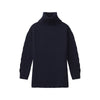 Cable Knit Sleeve Turtleneck Navy