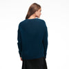 Luxe Cashmere Oversized V-Neck Sweater Dark Teal Blue