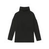 Wool Cashmere Oversized Ribbed Turtleneck Black