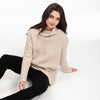 Wool Cashmere Oversized Ribbed Turtleneck Oatmeal