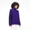 Wool Cashmere Oversized Ribbed Turtleneck Violet
