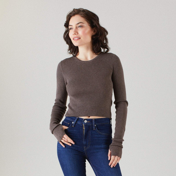 Long Sleeve Ribbed Crop Top Timber