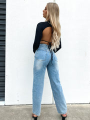 LEYA JEANS LIGHT WASH DENIM