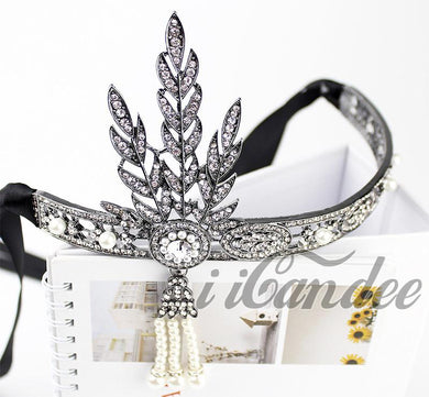 1920s Flapper Headband- Black Leaf Medallion Pearl Flapper Headband-Roaring 20s Great Gatsby - iiCandee