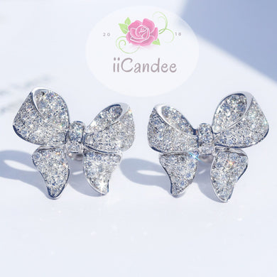 925 Sterling Silver Dazzling Bowknot CZ Crystal Stud Earrings