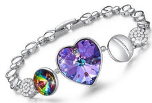 Load image into Gallery viewer, Crystal and Rhinestone Heart Charm Bracelet - iiCandee