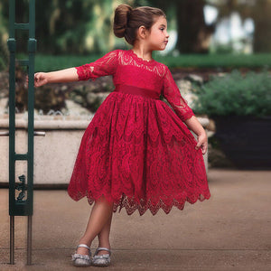 Kids Toddler Girls Floral Layered Lace Party Dress • Wedding Flower Girl Dress - iiCandee