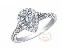 Load image into Gallery viewer, Shop for Sterling Silver Pear Shape Engagement Ring - Bridal Ring Set on sale at iicandee