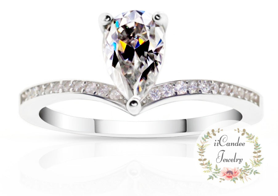 Buy Sterling Silver 925 Pear Cut 1.0ct Moissanite Engagement Ring Free Shipping - iicandee