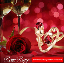 Load image into Gallery viewer, Shop for Crystal Rose Gold Adjustable Rings • Beautiful Jewelry Gift. Red Roses are the symbol of romance and love. Metals Type: 18k Gold Plated Material: Sale $21.99 for a limited time at iicandee.com