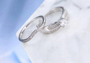 Sterling Silver Cubic Zirconia Round Cut Engagement Ring sale at iicandee