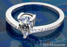 Load image into Gallery viewer, Buy Sterling Silver 925 Pear Cut 1.0ct Moissanite Engagement Ring Free Shipping - iicandee