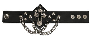 buy Black Punk Cross Leather Bracelet | iicandee