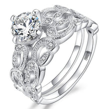 Load image into Gallery viewer, Sterling Silver Round Cut Engagement Ring 2 piece Bridal set Sale at iicandee