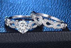 Sterling Silver Round Cut Engagement Ring 2 piece Bridal set Sale at iicandee