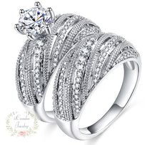 Load image into Gallery viewer, Sterling Silver Round Cut Engagement Ring - Wedding Band  Bridal Set on sale at iicandee