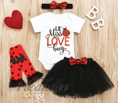 Newborn Baby Girl Love Bug Tulle tutu Skirt Dress leg warmers and Romper Set - iiCandee
