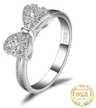 Load image into Gallery viewer, Sterling Silver Bow Ring with Cubic Zirconia