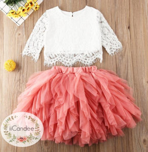 Baby Toddler Girls 2PC Ruffled Tutu Mesh Skirt and Lace Top • Special Occasion Dress - iiCandee