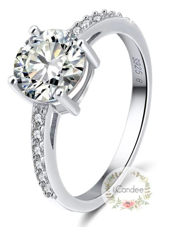 Sterling Silver Round Cut Engagement Ring  • Promise ring on sale at iicandee