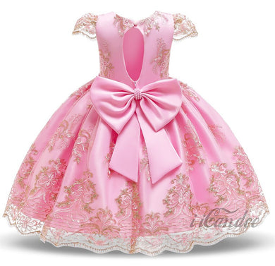Kids Baby Toddler Girl Pink Lace Beaded Flower Princess Formal Embroidered Dress Gown • Special occasion dresses - iiCandee