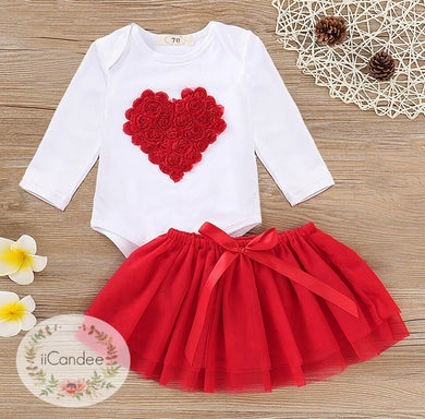 Baby Toddler Girl Heart Tutu Skirt Dress and Romper - iiCandee