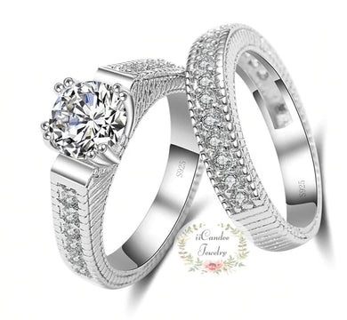 925 Sterling Silver 2 Piece Cubic Zirconia Engagement Ring - Bridal set Sale at iicande