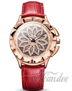 Ladies Rose Gold Women Leather Watch • Womens Red Leather watch - iiCandee