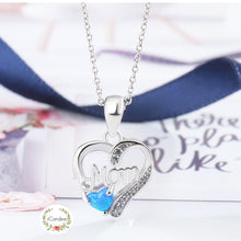 Load image into Gallery viewer, Buy Sterling Silver Love Mom Opal Necklace - Mothers Day Gift available at iiCandee.com | Titanium Stainless Steel Her King His Queen Band Ring Promise Ring - to Heart Pendant Necklace & Earrings Set - Stars to Hearts Hoop Earrings - Angel wings stud earrings