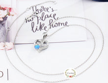 Load image into Gallery viewer, Sterling Silver Love Mom Blue Opal Necklace - Mothers Day Gift