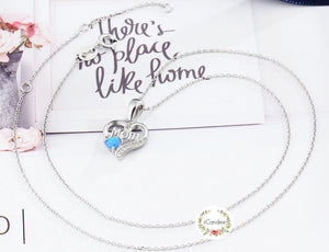 Sterling Silver Love Mom Blue Opal Necklace - Mothers Day Gift