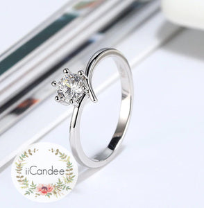 Sterling Silver Solitaire Engagement Ring  • Promise ring on sale at iicandee