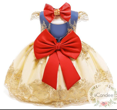 Baby Toddler Girls Birthday Big Bow Dress With Headband  Special Occasion Dress - iiCandee