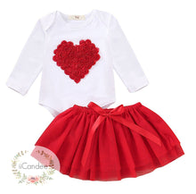 Load image into Gallery viewer, Baby Toddler Girl Heart Tutu Skirt Dress and Romper - iiCandee