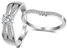 Load image into Gallery viewer, Sterling Silver Cubic Zirconia Round Cut Engagement Ring sale at iicandee