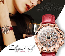 Load image into Gallery viewer, Ladies Rose Gold Women Leather Watch • Womens Red Leather watch - iiCandee