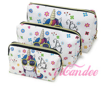 Load image into Gallery viewer, Shop for Cute cosmetic bags, Unicorn Makeup Cosmetic Bags 3 piece • Cosmetic Travel bags at iicandee.com