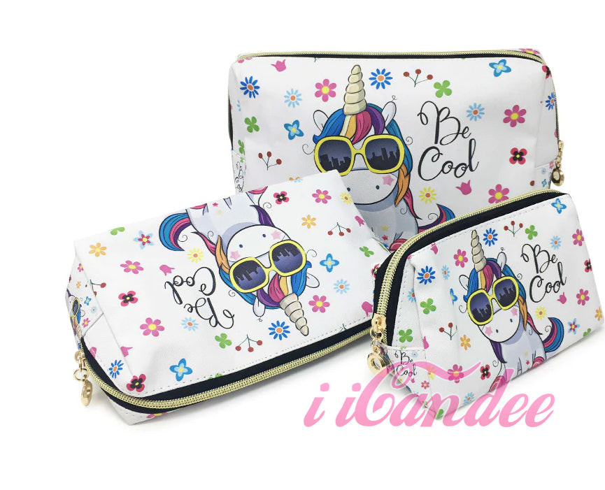 Shop for Cute cosmetic bags, Unicorn Makeup Cosmetic Bags 3 piece • Cosmetic Travel bags at iicandee.com