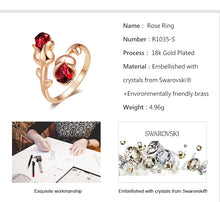 Load image into Gallery viewer, Swarovski Crystal Red Rose Gold Adjustable Ring