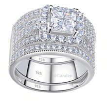 Load image into Gallery viewer, Shop iiCandee jewelry for engagement rings, wedding sets, women's wedding bands, princess cut sterling silver bridal set, sterling silver princess cut engagement rings, sterling silver cubic zirconia wedding sets, 925 sterling silver wedding ring sets, Affordable Engagement Rings - Affordable Wedding Bands, cheap engagement rings that look expensive, Bridal sets at affordable prices and Free Shipping | iicandee