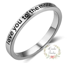 Load image into Gallery viewer, I Love You To The Moon And Back .925 Sterling Silver Ring-iicandee
