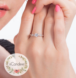 Sterling Silver Zircon Solitaire Engagement Ring  • Promise ring on sale at iicandee