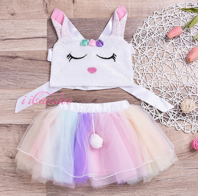 Baby Toddler Girl Unicorn Sequin Tutu Skirt and Top Set-Tutu Dress - iiCandee