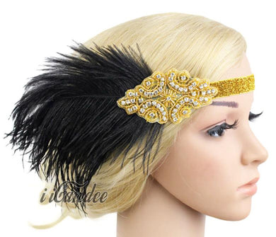 1920s Flapper Headband Gold Beaded