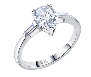 Sterling Silver 1.8 Ct Solitaire Pear Cut Sona Diamond Engagement Ring sale at iicandee