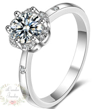 Load image into Gallery viewer, 925 silver engagement rings, cubic zirconia halo engagement rings, best sterling silver engagement rings, cubic zirconia princess cut engagement rings, cushion cut cubic zirconia engagement rings, diamond art cubic zirconia-iicandee