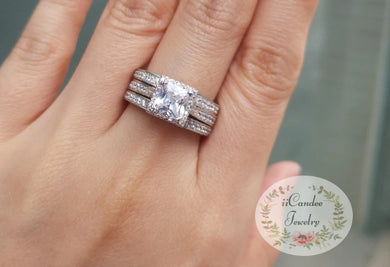 Platinum over Sterling Silver Princess-Cut Cubic Zirconia Halo 3 Piece Engagement Ring Bridal set sale at iicandee