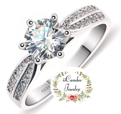 Buy 18k White Gold Plated Round-cut White Moissanite Engagement Ring-iicandee