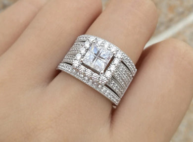 Buy Halo Princess Cut Sterling Silver Bridal set on SALE | iicandee